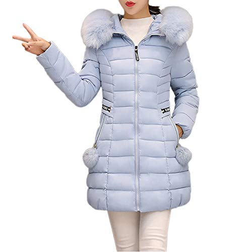 Dicker Wintermantel Briskorry Frauen Kapuzen Winter Warm Daunenjacke Steppjacke Winterparka Taschen Lang Steppmantel Parka Mantel mit Abnehmbarer Pelzkragen