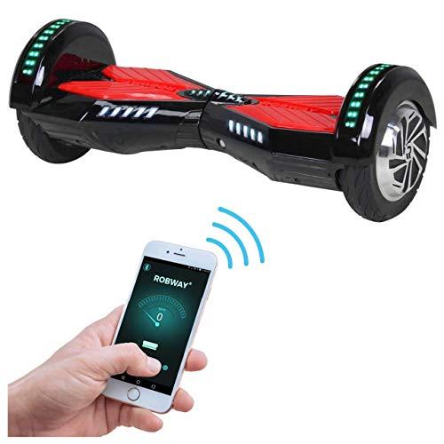 Robway W2 Hoverboard - Das Original - Samsung Marken Akku - Self Balance - 3 Farben - Bluetooth - 2 x 350 Watt Motor - 8 Zoll Reifen (Schwarz Rot)