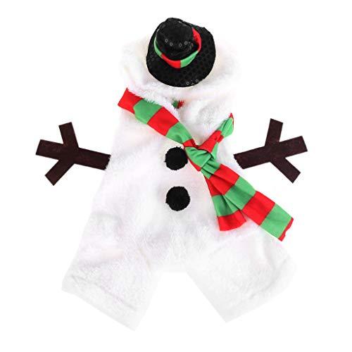 Xiuinserty disfraz de gato, disfraz de Navidad para perro, cálida forma de muñeco de nieve de franela, disfraz de...