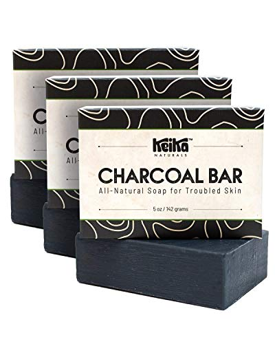 Keika Naturals Charcoal Black Soap Bar for Acne, Eczema, Psoriasis, Face, Body, Men Women Teens with Oily Skin, 5 oz. (Charcoal+, 3-Pack)