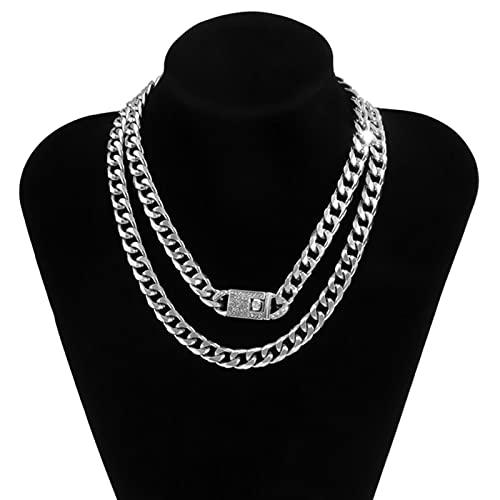ADON 2 unids/set lujo Rhinestone cristal broche cadena gargantilla mujeres hip hop grueso Miami bordillo cubano collar joyería