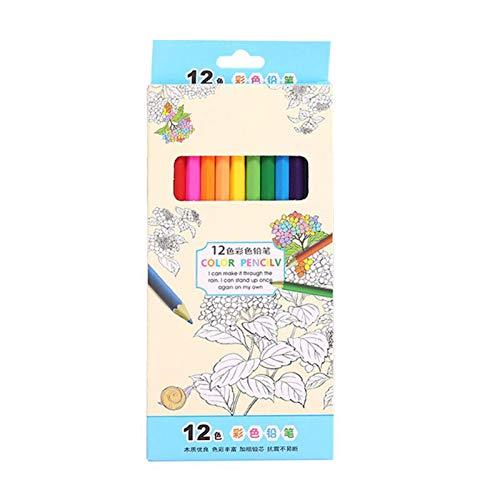 Lapices Colores Yuan Ou Lápices de 12/24 colores, lápices de colores de madera natural, lápices de dibujo para la escuela, oficina, artista, pintura, suministros para bocetos, 7 pulgadas-12 colores