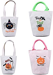 Personalized Halloween Treat Bags 4 Pack Assortment, Customized Canvas Trick Candy Bag with Pumpkins, Jack-o-Lanterns, Ghosts, Witches & More (2 small, 2 big sacks)