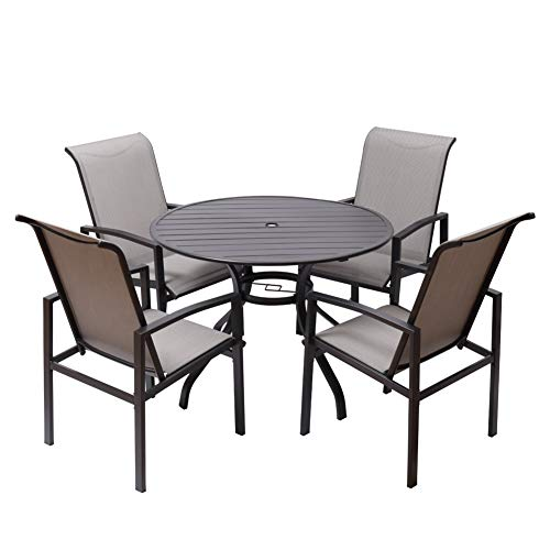 "Fit Right 5 Pieces Outdoor Dining Set Patio Furniture with Metal Slat Finish, Steel Tube 38' Round Dining Table and Patio Chairs with 1'5"" Umbrella Hole"