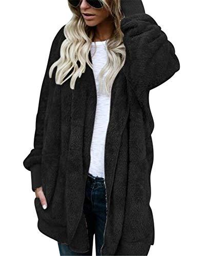 MISSMAO Damen Teddy-Fleece Mantel Kuscheliger Langer Fleecemantel Kapuzenpullover mit Kapuze Schwarz M