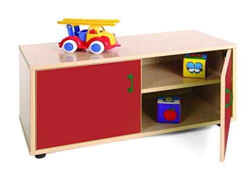 Mobeduc 600102hps10-Mobiletto per Bambini superbajo/Armadio a 2 Ripiani, in Legno, Colore: Rosso Ciliegia/faggio, Dimensioni 90 x 40 x 44 cm