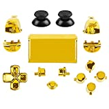 Jadebones Chrome Plating Buttons for PS4 Controller Gen 2, Action Home Share Options Buttons & D-pad & R1 L1 R2 L2 Trigger & Touchpad Full Set Buttons Repair Kits for PS4 Slim PS4 Pro Controller(Gold)