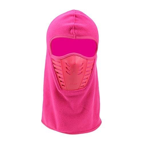 ECYC Balaclava en Molleton Respirant Et Coupe-Vent, Hommes Femmes Masque IntéGral Hiver Chaud Skullies Bonnets Balaclava, Rose Rouge