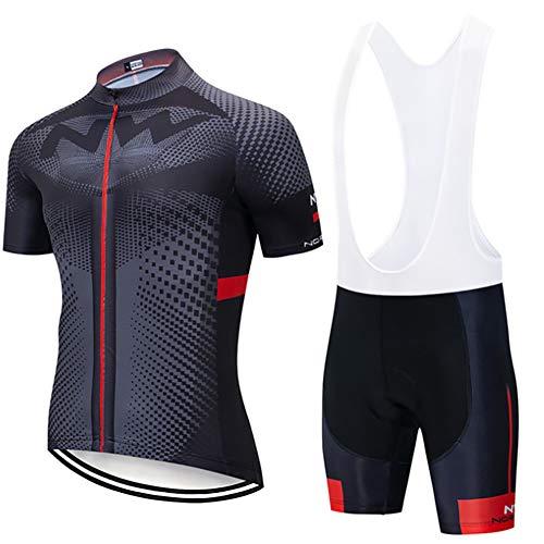 W&TT Conjunto de Jersey de Ciclismo para Hombre Camisa de Manga Corta Transpirable de Secado rápido para Bicicleta + Pantalones Cortos con Babero Acolchados con Gel 3D,H,5XL