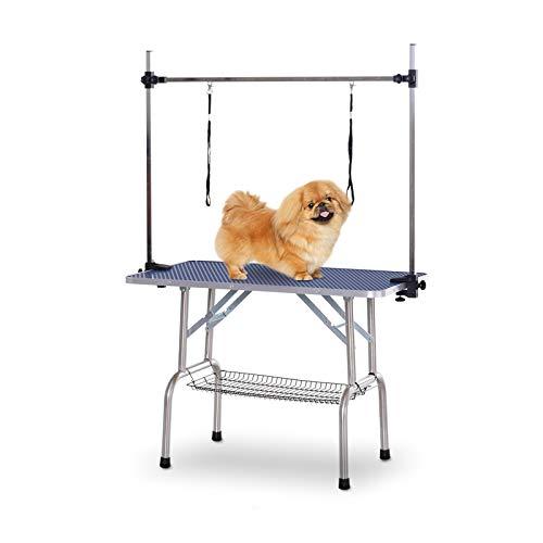 Pawhut Mesa de Peluquería para Mascotas Mesa de Aseo Plegable con Estante de Almacenamiento Estructura Acero Altura Ajustable 107x60x170 cm 🔥