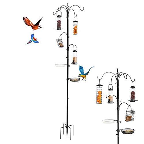 Bird Feeding Stations for the Garden,Wild Bird Feeding Station Kit with Water Seed tray Bird Feeder Pole Hanging Kit Planter Hanger Multi Feeder Hanging with Metal Suet Feeder Bird Bath,Attract Birds