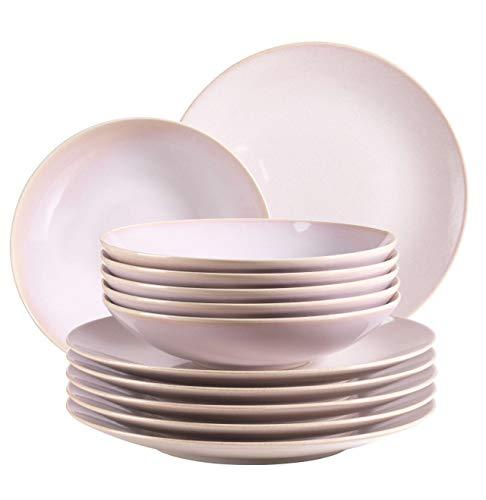 MÄSER 931553 Ossia, Teller-Set für 6 Personen im mediterranen Vintage-Look, 12-teiliges modernes Tafelservice mit Suppentellern und Speisetellern in Rosa, Keramik