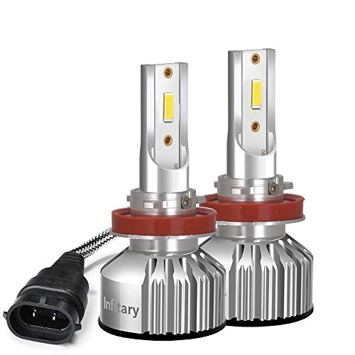 INFITARY H11/H8/H9 LED Headlight Bulbs All-in-One Conversion Kit Warm White 4500K Fog Light High Low Beam 8000LM Plug Play Car Motorcycle Replacement Mini LED Headlamp