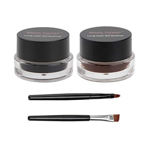 Frcolor 2 en 1 Gel Eyeliner Set belleza cosmética maquillaje delineadores de ojos Long wear Gel a prueba de agua marrón y negro con cepillo de cejas maquillaje