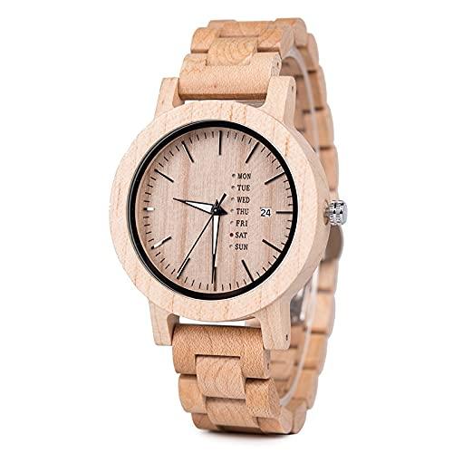 Reloj de madera de los hombres blancos Movimiento hecho a mano Movimiento japonés Cuarzo Calendario Movimiento de negocios Preciosa Madera Producción Combinación de tecnología y naturaleza Amantes de