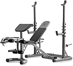 Gold's Gym XRS 20 Adjustable Olympic Workout Bench with Squat Rack, Leg Extension, Preacher Curl, and Weight Storage