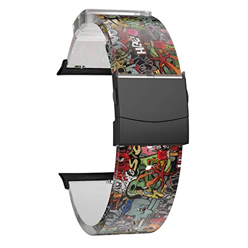 SOUWILA Compatible con Caucho Correa Reloj 38 mm 40 mm 42 mm 44 mm iWatch Series 6/5/4/3/2/1 Caucho Correa Reloj con Acero Inoxidable Hebilla Desplegable (42mm, RedGreen-Black)