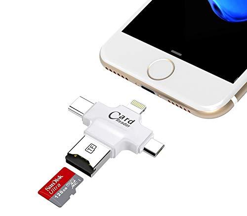 TaoMorall SD Card Reader, 4 in 1 TF/SD Kartenleser USB Kartenlesegerät Kompatibel mit Alle Smartphones Android Typ C Phones Mit OTG-Funktion/Mac/PC (Weiß)