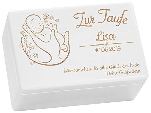 LAUBLUST Holzkiste mit Gravur - Personalisiert mit Name | Datum | WIDMUNG - Weiß Größe M - Blumenbaby Motiv - Geschenkkiste zur Taufe