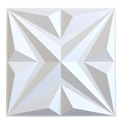 MIX3D 3D Wall Panels, Star Textured White PVC Wall Panels for Interior Wall Decor, Pack of 12 Tiles 32 Sq Ft