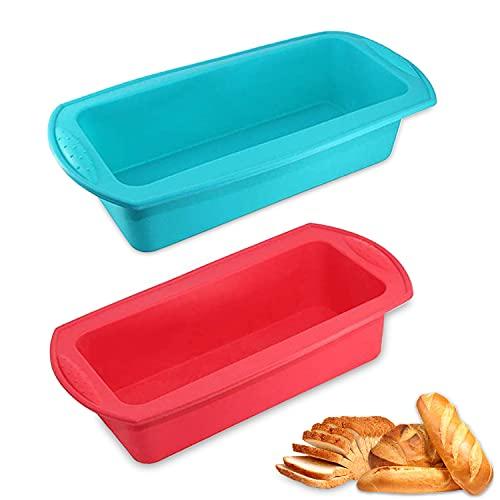 WELLXUNK 2 pcs Silicona Molde Pan, Moldes para Hornear de Silicona, Moldes para Pan Antiadherentes para tortas y Pan caseros(Rojo, Azul)
