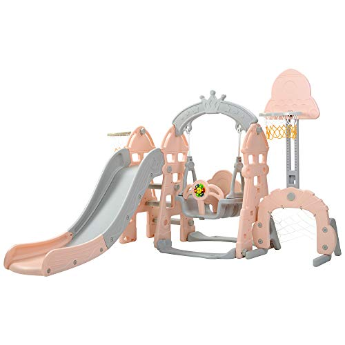 BTM Multifunctional Plastic Kids 5 in 1 Toddler Climber and Swing Set with Removable Basketball Hoop, Extra Long Slide and Ball,Easy Climb Stairs for Indoors & Outdoor Safe