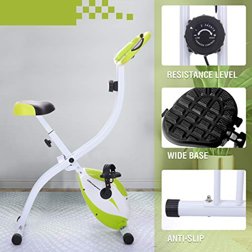 Ultrasport F-Bike Home Trainer 150 with Hand Pulse Sensors, Exercise Bike with Training Computer and Hand Pulse Sensors, Collapsible, Green