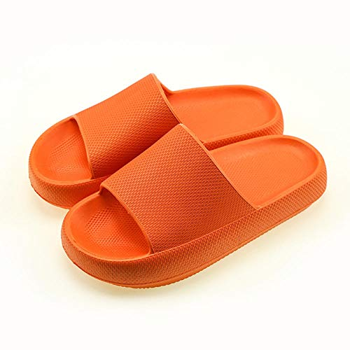 HUSHUI Schlappen rutschfest Pantoffeln,rutschfeste Hausschuhe mit weichen Sohlen, erhöhte Badeschuhe-Orange_39-40,Badeschuhe Badeschlappen