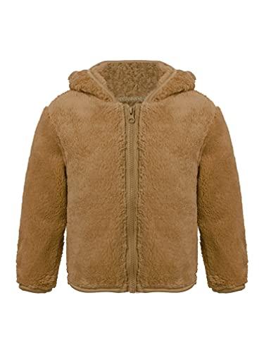 JEATHA Toddler Baby Boys Girls Fall Winter Fleece Jacket Zip Up Hoodie Flannel Coat Hooded Cardigan Brown 3-4 Years