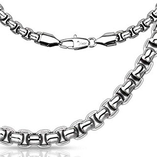 Bungsa® Halskette gerundete Glieder Edelstahl Silber für Damen und Herren (Edelstahlkette Damenkette Herrenkette Necklace Herren Frauen Männer Schmuck)