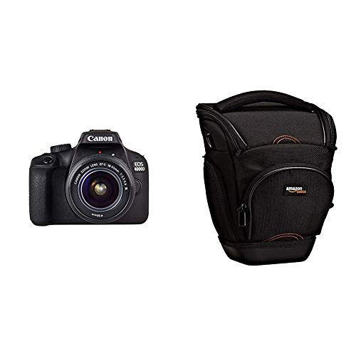 Canon EOS 4000D Camara con Objetivo EF-S 18-55mm III, 18 MP, Negro & AmazonBasics - Funda para cámara de Fotos réflex, Color Negro