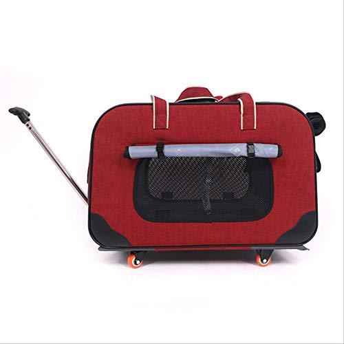JBPX Draagtas voor huisdieren, opvouwbaar, voor huisdieren, met vier wielen, draagbaar, ademend, van Oxford weefsel 900D, waterdicht, M, Netto