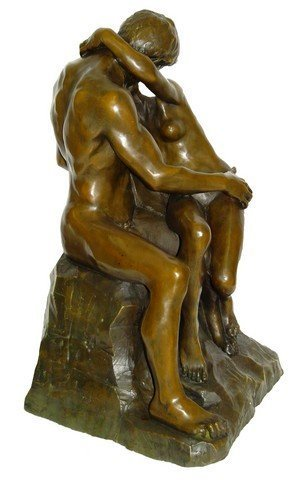 Große Bronzefigur - Der Kuss (1886) - Auguste Rodin Skulptur - Gartenskulptur - Figur - Signiert - Liebespaar