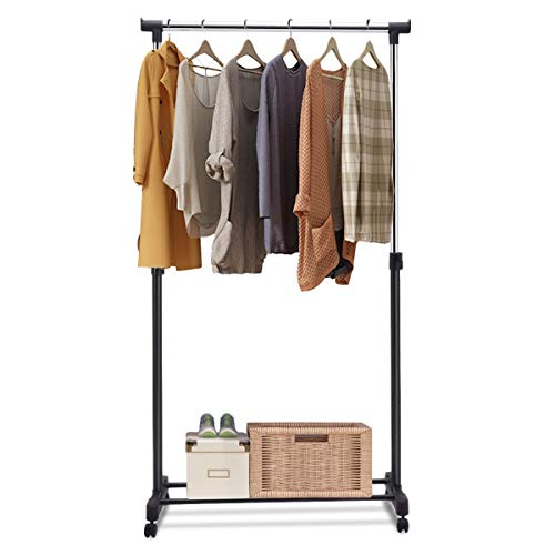 GOFLAME Garment Rack Adjustable Height Adjustable Clothing Hanging Rack with Wheels Additional Lower Rack for Extra Storage Portable and Heavy Duty Ideal for Balcony Bathroom