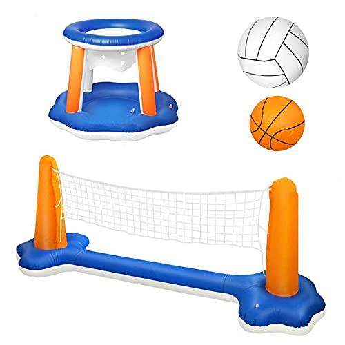 Lujoso Piscina Red Piscina Volley, Inflado Canasta Baloncesto Piscina para Niños Y Adultos Flotante, Flotadores De Verano, Fiesta En La Piscina, Cancha De Voleibol