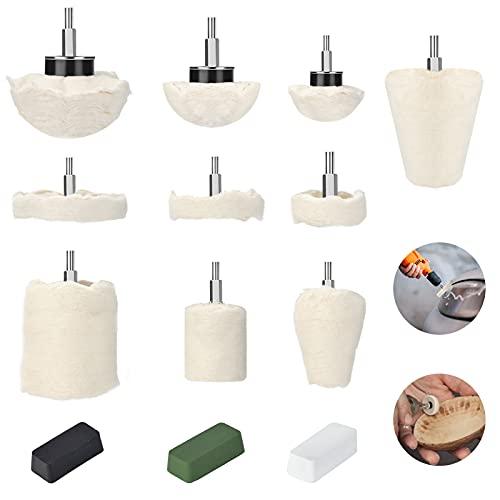 Luckits - Juego de 10 piezas de almohadillas para rueda de pulido de algodón con mango de 1/4 pulgadas, cónica/cilíndrica/seta/rueda en forma de cúpula de pulido, para metal, joyas, cerámica, vidrio