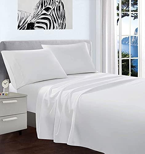 Set completo letto tinta unita 100% cotone made in Italy disponibile in diverse misure e colori. (Bianco, Singolo)