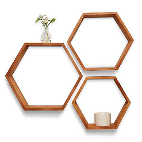 Oakker - Estantes hexagonales de madera – Juego de 3 estantes flotantes – decoración rústica de granja – estante para plantas suculentas – baño, sala de estar, cuarto de bebé, madera de Paulownia, café claro
