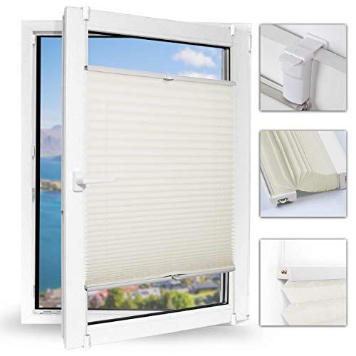 Achollo Plissee klemmfix Jalousie ohne Bohren 45 x 200cm (BxH) (Beige) Seitenzugrollo Faltrollo easyfix & verspannt mit Klemmfixträger, für Fenster und Tür