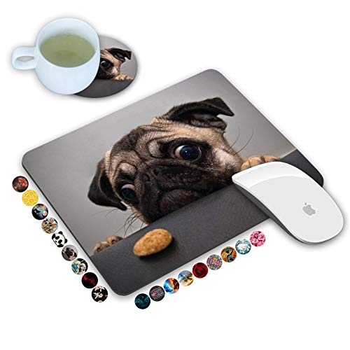 LOWORO Mouse Pad and Coasters Set, Cute Pug Mouse Pad, Non-Slip Rubber Base Rectangle Mouse Pads for Laptop and Computer Office Accessories