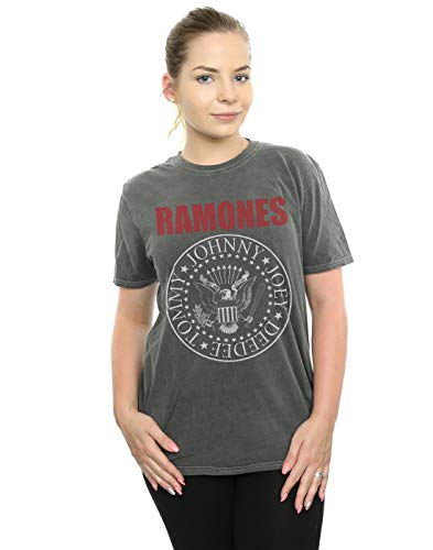 Ramones Damen Red Text Seal Gewaschen Boyfriend Fit T-Shirt Holzkohle Medium