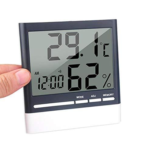 Funnyfeng Digitale thermometer, hygrometer, temperatuur-hygrometer, 4 inch, wekker, temperatuur, vochtigheid, datum, geschikt voor huis en kantoor