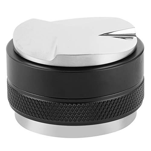AMONIDA Black Coffee Leveler Tool, Rutschfester Griff mit Zwei Köpfen und 3 abgewinkelten Hängen/Verstellbarer Kaffee-Manipulation mit flachem Boden, abnehmbar,(Black, 51mm)