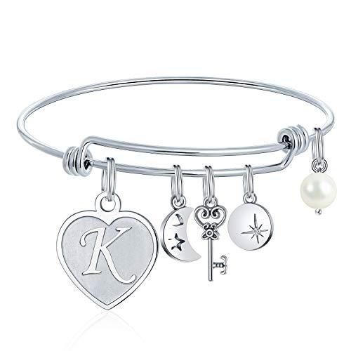 M MOOHAM Charms Bracelets for Women Letter - Engraved K Initial Charm Bracelets Stainless Steel Heart Moon Charm 26 Letters Alphabet Bracelet Jewelry Birthday Gifts for Adult Women Teen Girls