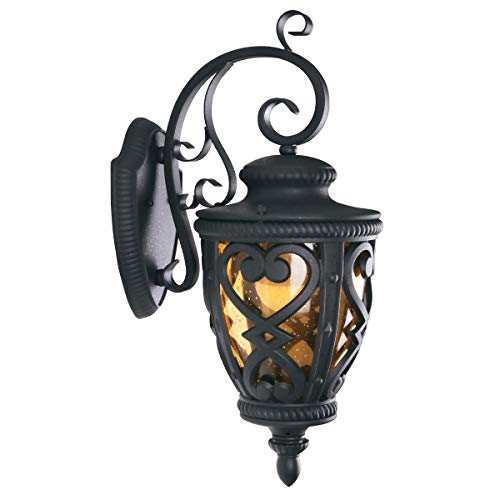 Goalplus Outdoor Wall Lantern for Porch Patio Exterior Light with Wall Mount, Black Outdoor Porch Light Fixture with Amber Seeded Glass, 60W E26 IP44 Waterproof, Hight, 22 1/2