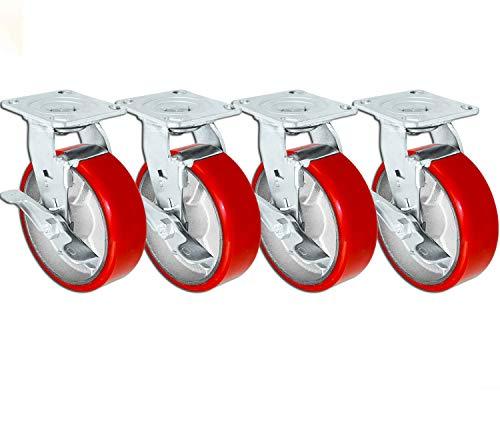 "6"" X 2"" Swivel Casters Heavy Duty Polyurethane Wheel on Steel Hub with Top Lock Brake 1250lb Ea (4) Tool Box Casters - 5,000 lbs Capacity Set of 4"