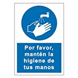 Cartel Coronavirus | Señalización de Lavado de Manos para Establecimientos y Lugares Públicos | Señal Coronavirus Autoinstalable | 21 x 30 cm | Descuentos por Cantidad