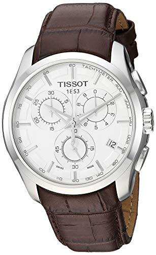 Tissot Herren T0356171603100 Couturier Silber Edelstahl Chronograph Uhr Mit Braunem Lederband T0356171603100