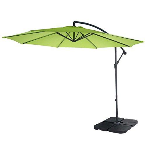 Mendler Ampelschirm Acerra, Sonnenschirm Sonnenschutz, Ø 3m neigbar, Polyester/Stahl 11kg - grün-Lemon mit Ständer