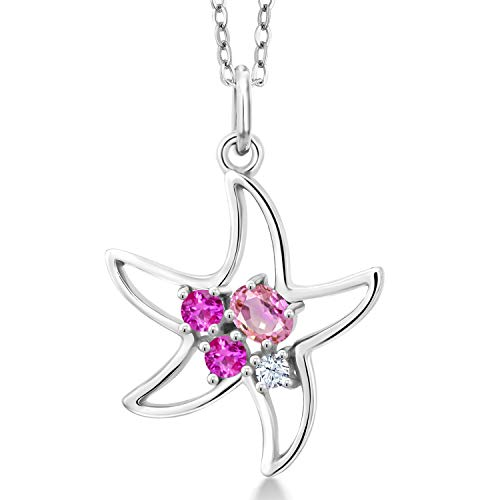 Gem Stone King 925 Sterling Silver Pink Sapphire Starfish Pendant Necklace (0.36 Cttw Oval with 18 Inch Silver Chain)